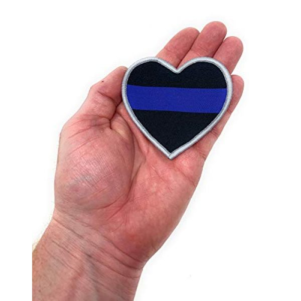 Funiverse Airsoft Morale Patch 2 Bulk 5 Pack of Thin Blue Line Police Heart Morale Patch - Show Your Support for Law Enforcement
