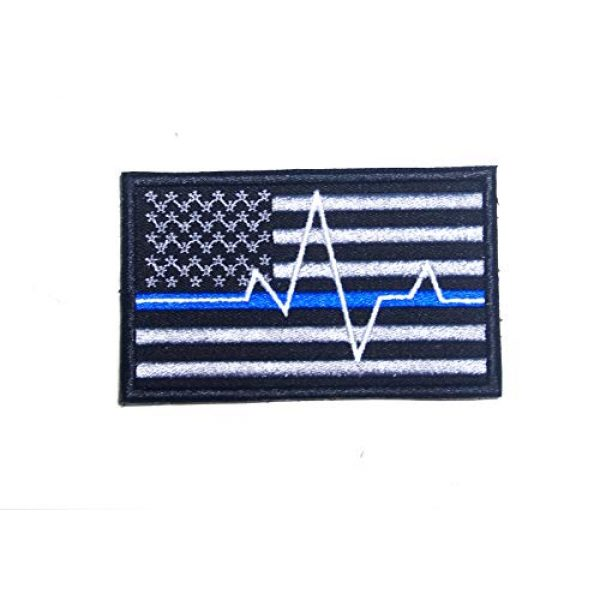JJ4 Airsoft Morale Patch 3 B55 USA American Flag Red and Blue Line Paramedic Firefighter Embroidered Morale Patch 9X5.5 cm Hook Backing (1)