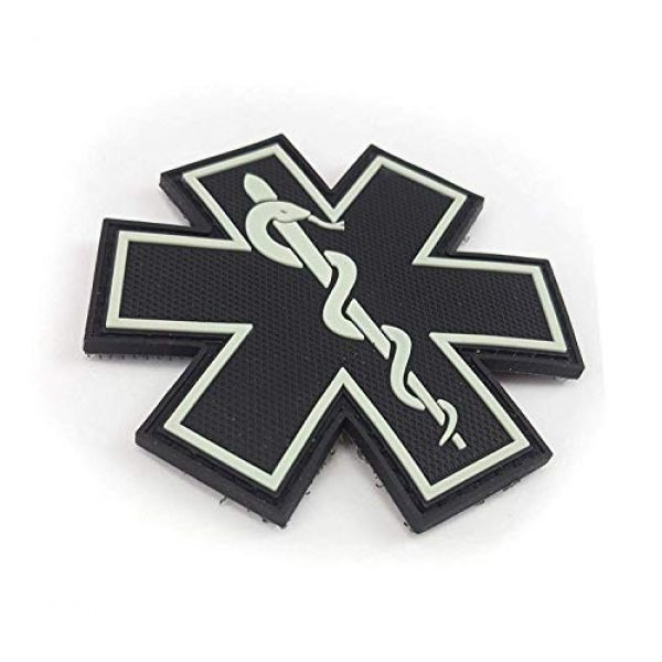 """Tactical Innovations Canada Airsoft Morale Patch 2 PVC Morale Patch - EMS - Medical Responder 3"""" Star of Life - Glow in The Dark - Single Snake"""