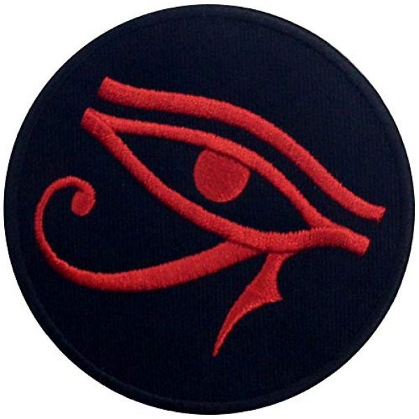 EmbTao Airsoft Morale Patch 4 Eye of Horus Wedjat Patch Embroidered Applique Iron On Sew On Emblem, Red & Black