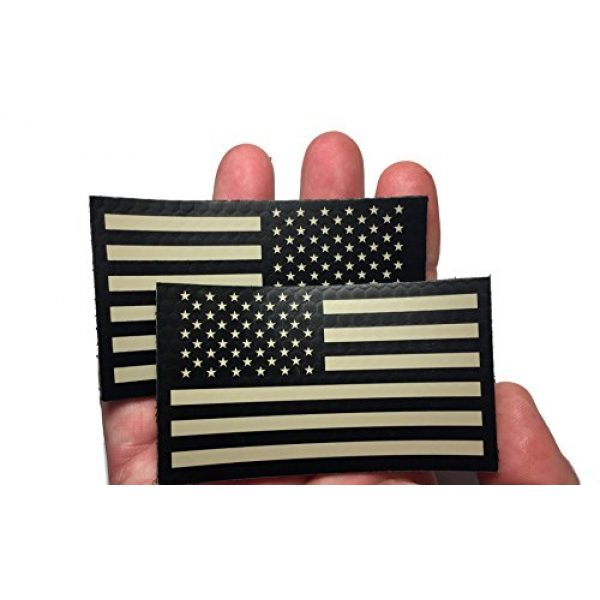 """Empire Tactical USA Airsoft Morale Patch 2 2 PACK Set - Authentic mil-spec 2"""" x 3.5"""" Black and Tan (FORWARD and REVERSED) Us Ir Infrared USA Flag Military Morale Reflective Patch"""