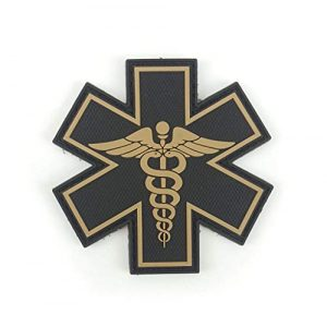 """Tactical Innovations Canada Airsoft Morale Patch 1 PVC Morale Patch - EMS - Medical Responder 3"""" Star of Life - Blk & Tan - Dual Snake"""