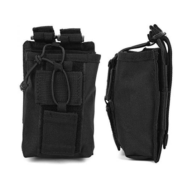 Rosvola Tactical Pouch 4 Rosvola Waterproof Walkie-Talkie Holder, with Snap Buckles Intercom Bag, Walkie-Talkie Bag, Wear-Resistant and Durable Simple Design and Color Black for Security Office