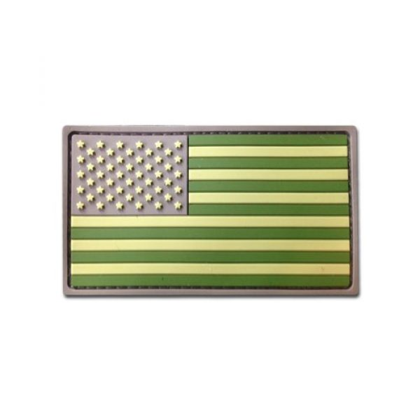 BASTION Airsoft Morale Patch 1 Bastion Tactical Combat Badge PVC Morale Patch Hook and Loop Patch - USA Flag (Green)