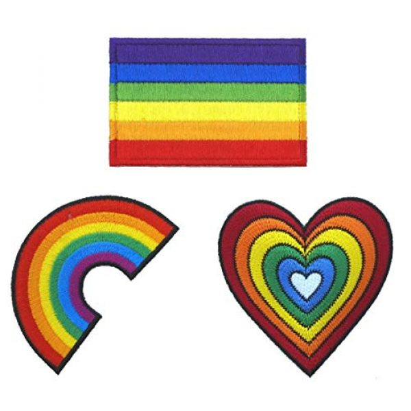 Graphic Dust Airsoft Morale Patch 1 Graphic Dust Lot of 3 Rainbow Flag Heart Sign Gay LGBT Lesbian Embroidered Iron on Patch Logo Gay Pride Festival Rights Love DIY Sign Symbol