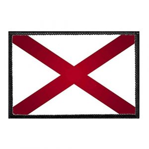 P PULLPATCH Airsoft Morale Patch 1 Alabama State Flag - Color Morale Patch   Hook and Loop Attach for Hats, Jeans, Vest, Coat   2x3 in   by Pull Patch