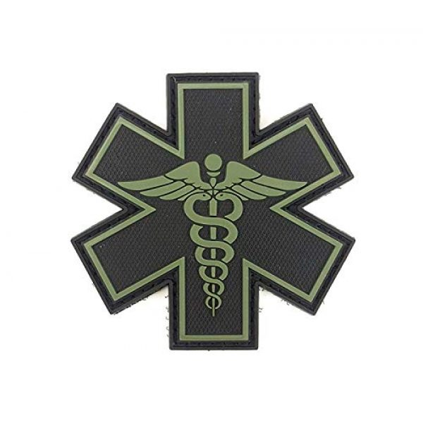 """Tactical Innovations Canada Airsoft Morale Patch 1 PVC Morale Patch - EMS - Medical Responder 3"""" Star of Life - Blk & ODG - Dual Snake"""