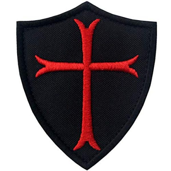 EmbTao Airsoft Morale Patch 1 Knights Templar Cross Shield Military Morale Embroidered Fastener Hook & Loop Patch - Black & Red