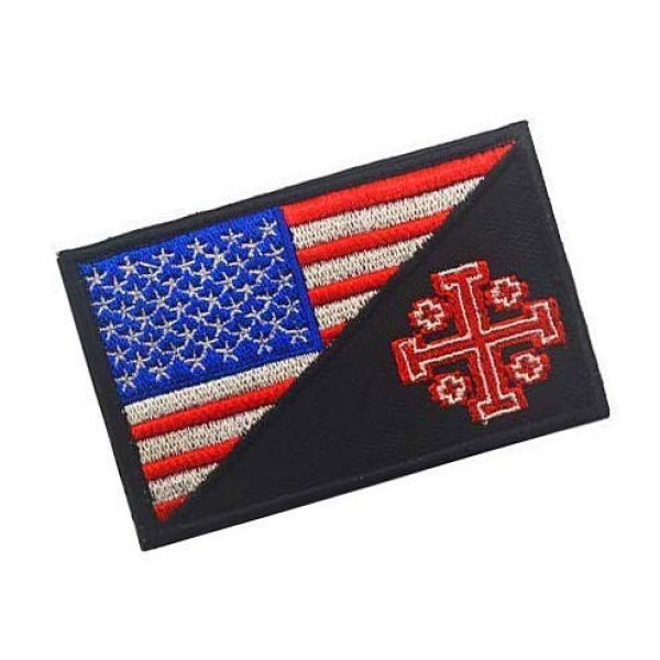 Embroidery Patch Airsoft Morale Patch 2 United States Flag Templar Knights Jerusalem Cross Military Hook Loop Tactics Morale Embroidered Patch