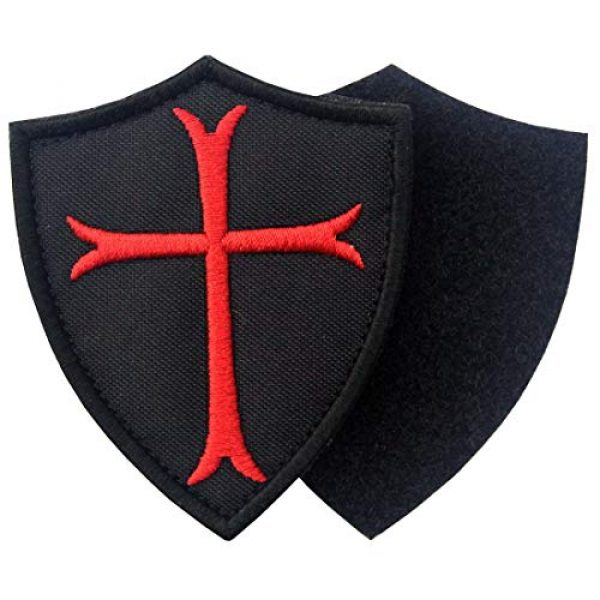 EmbTao Airsoft Morale Patch 4 Knights Templar Cross Shield Military Morale Embroidered Fastener Hook & Loop Patch - Black & Red