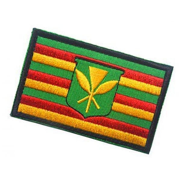 Embroidery Patch Airsoft Morale Patch 3 Kanaka Maoli Flag Hawaii Historical Native Hawaiian Military Hook Loop Tactics Morale Embroidered Patch