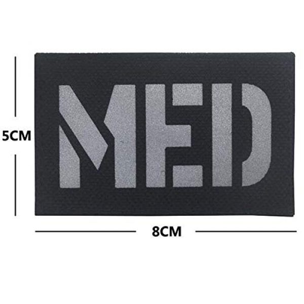 Kssen Airsoft Morale Patch 2 Medic Med Tactical Morale Fastener Patch IR Reflective Badge Emblem for First Aid EMS EMT MED with Embroidered Hook&Loop Medical Cosplay Patches (Black)