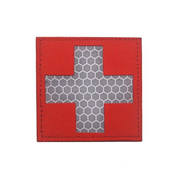 Zhikang68 Airsoft Morale Patch 1 Reflective Medic Patches,Infrared IR EMS EMT MED Tactical Medical Red Cross Morale Hook&Loop Badge First Aid Decorative Appliques (White Red)