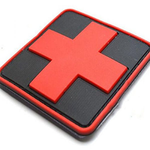 dufu-beauty- Airsoft Morale Patch 3 Outdoor Products PVC Patch Armband The Medical Rescue Of The Red Cross Chapter Black Background/Red