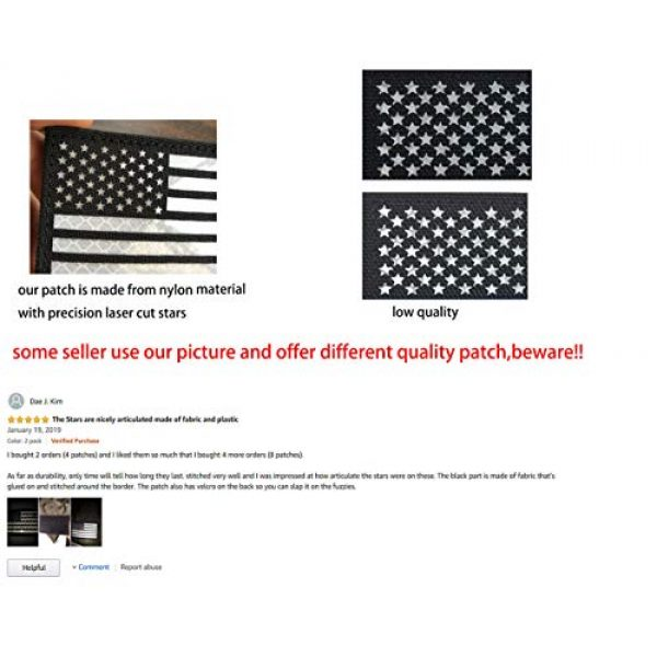 Baotu Airsoft Morale Patch 3 2x3.5 Reflective Black White US USA American Flag Tactical Patches Hook-Fastener Backing (2 Pack)