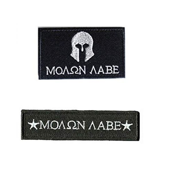 Acbell Airsoft Morale Patch 1 Molon Labe Milltary Tactical Morale Patches Fabric Embroidered Emblem Badges with Fastener Hook & Loop 2Pcs