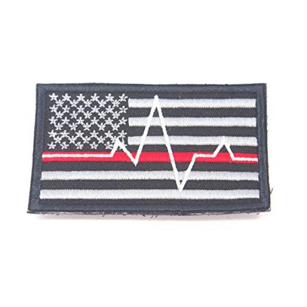 JJ4 Airsoft Morale Patch 4 B55 USA American Flag Red and Blue Line Paramedic Firefighter Embroidered Morale Patch 9X5.5 cm Hook Backing (1)