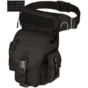 Protector Plus Tactical Pouch 1 Protector Plus Tactical Drop Leg Bag Military Tool Fanny Thigh Pack Utility Airsoft Motorcycle Cycling Waist Gear Pouch (Patch Included)