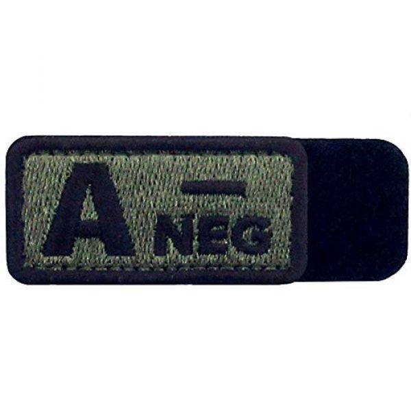 """EmbTao Airsoft Morale Patch 5 EmbTao Type A Negative Tactical Blood Type Patch Embroidered Morale Applique Fastener Hook & Loop Emblem - Green & Black - 2""""x1"""""""