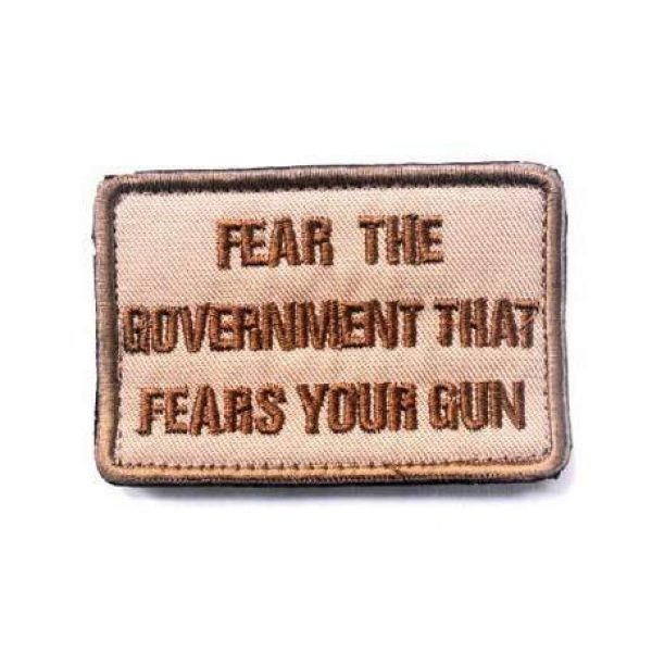 Embroidered Patch Airsoft Morale Patch 1 Fear The Government That Fears Your Gun 3D Tactical Patch Military Embroidered Morale Tags Badge Embroidered Patch DIY Applique Shoulder Patch Embroidery Gift Patch