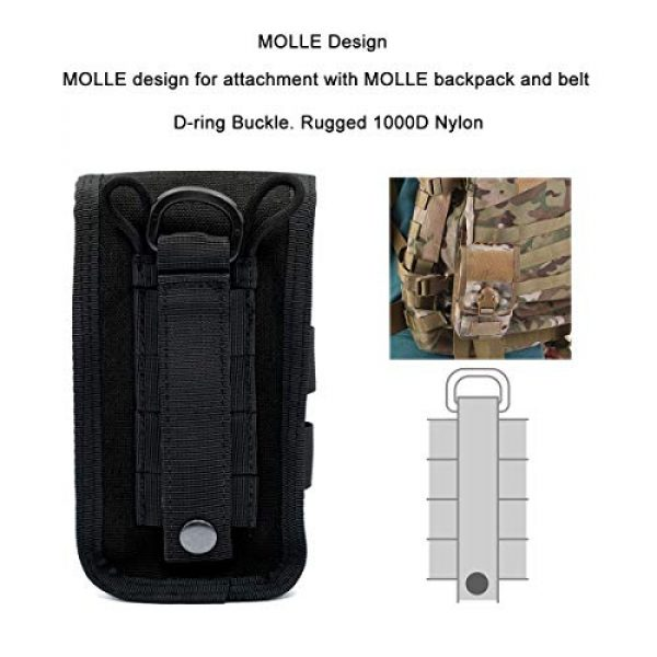 Riyiter Tactical Pouch 2 Riyiter Universal Multifunction Cell Phone Holster Pouch Tactical Smartphone Pouches EDC Case Molle Gadget Bag Case with Belt Loop Hook Cover Case Double-Layer Nylon Coin Purse Black