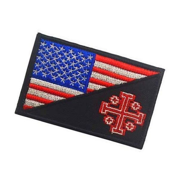 Embroidery Patch Airsoft Morale Patch 3 United States Flag Templar Knights Jerusalem Cross Military Hook Loop Tactics Morale Embroidered Patch