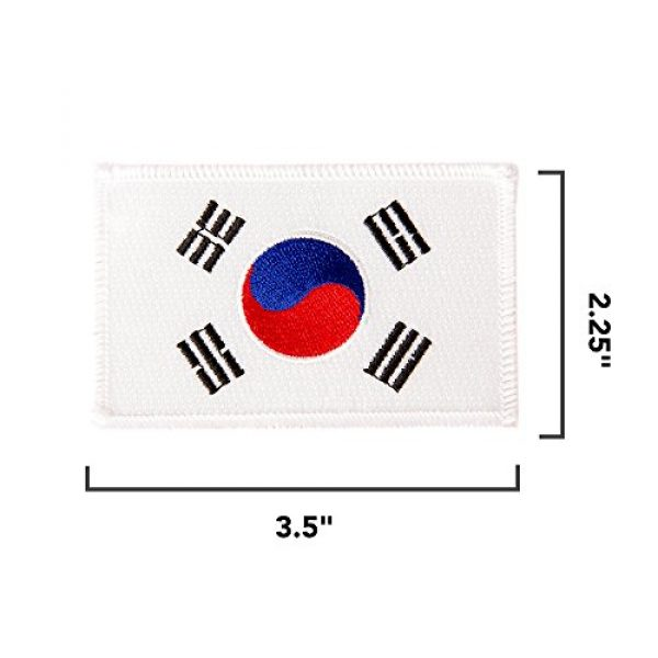 Desert Cactus Airsoft Morale Patch 2 South Korea Flag Patch Bulk 3-Pack 3.5Wx2.25H State Iron On Sew Embroidered Tactical Morale Back Pack Hat Bags Korean (3-Pack Patch)