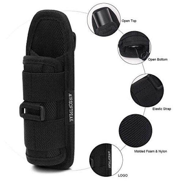 AIRSOFTPEAK Tactical Pouch 3 AIRSOFTPEAK Flashlight Pouch Holster Carry Case Holder with 360 Degrees Rotatable Belt Clip Long Type, Black