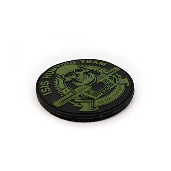 """Tactical Innovations Canada Airsoft Morale Patch 2 Tactical Innovations Canada PVC Morale Patch - ISIS Hunting Team 3"""" Dia - Blk & ODG"""