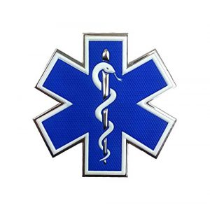 """Tactical Innovations Canada Airsoft Morale Patch 1 PVC Morale Patch - EMS - Medical Responder 3"""" Star of Life - Single Snake - Blue/White/Silver"""