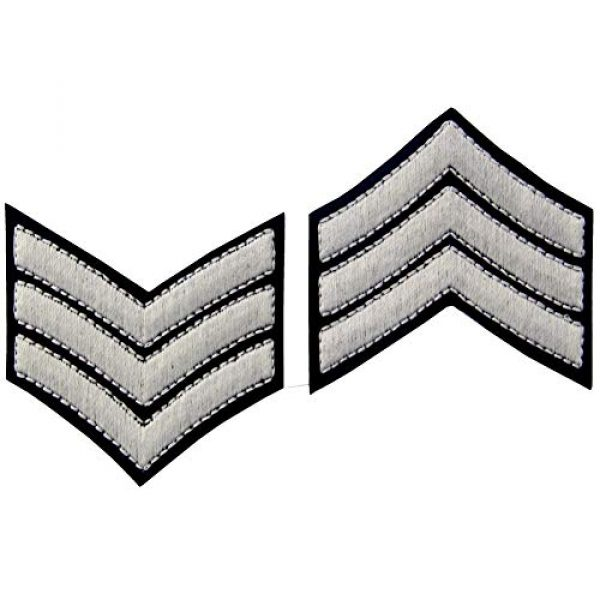 EmbTao Airsoft Morale Patch 6 Glow in Dark Millitary Uniform Chevrons Sergeant Stripes US Army Embroidered Arms Emblem Iron On Sew On Shoulder Patch, Pack of 2