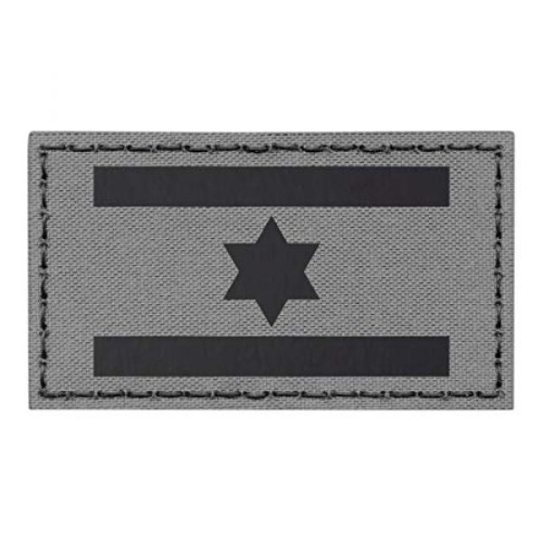 Tactical Freaky Airsoft Morale Patch 1 IR Israel Flag Wolf Gray IDF Star David 2x3.5 Infrared Grey IFF Tactical Morale Fastener Patch