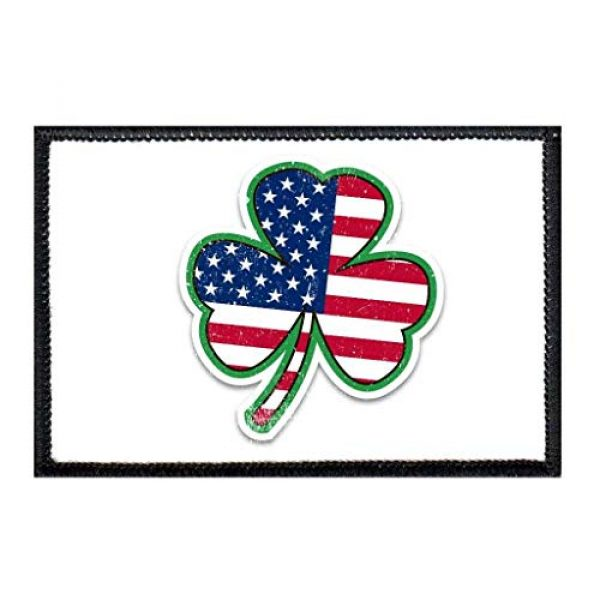 P PULLPATCH Airsoft Morale Patch 1 3 Leaf Clover - US Flag - Shadow Morale Patch | Hook and Loop Attach for Hats, Jeans, Vest, Coat | 2x3 in | by Pull Patch