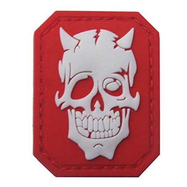 Tactical PVC Patch Airsoft Morale Patch 4 Skull Devil Satan Glow-in-Dark Morale Military Patch 3D PVC Rubber Tactical Rubber Hook Patch (3pcs)
