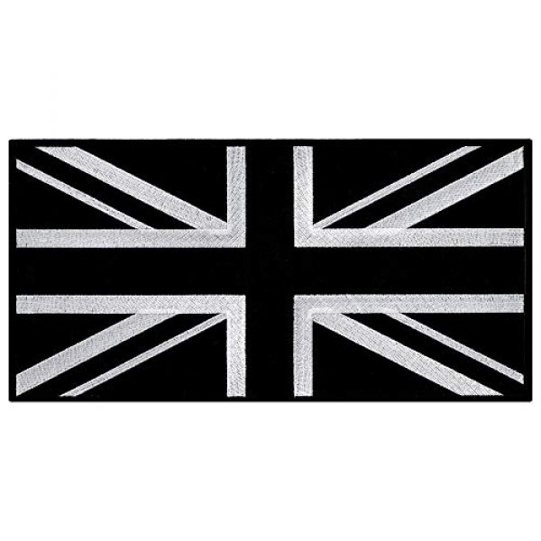 Cypress Collectibles Embroidered Patches Airsoft Morale Patch 1 Large Black Union Jack Embroidered Patch British Flag UK Great Britain Iron-On