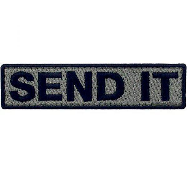 EmbTao Airsoft Morale Patch 1 Send It Embroidered Patch Tactical Morale Applique Fastener Hook & Loop Emblem, Olive & Black