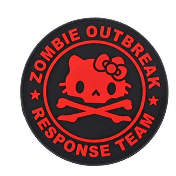 Tactical PVC Patch Airsoft Morale Patch 4 Hello Kitty Zombie Outbreak Response Team PVC Military Tactical Morale Patch Badges Emblem Applique Hook Patches for Clothes Backpack Accessories