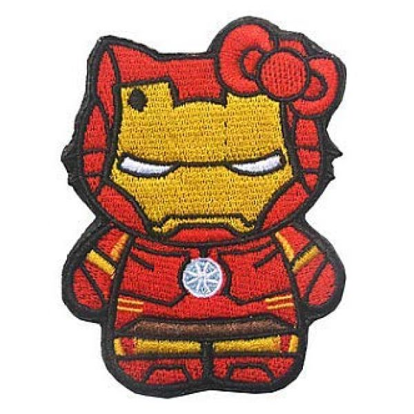 Embroidery Patch Airsoft Morale Patch 1 Hello Kitty As Iron Man Military Hook Loop Tactics Morale Embroidered Patch