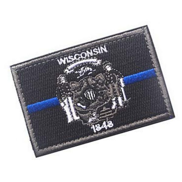 Embroidery Patch Airsoft Morale Patch 2 US Wisconsin State Flag Patch Military Hook Loop Tactics Morale Embroidered Patch (color3)