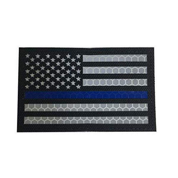 HNGKIANGHU Airsoft Morale Patch 1 2x3.15 Inch Reflective Thin Blue Line US USA American Flag Morale Tactical Police Patches Hook-Fastener Backing 3D Patch (A-1 pcs)