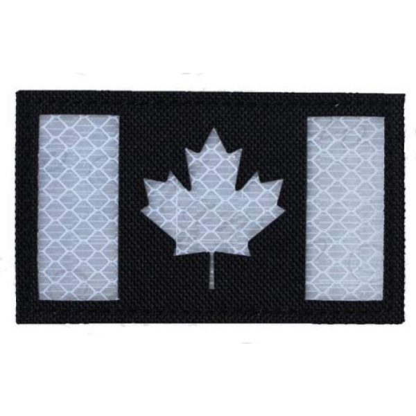 Tactical Embroidery Patch Airsoft Morale Patch 1 IR Canada Flag Infrared Reflective Tactical Embroidery Patch Hook & Loop Morale Patch Military Patch for Clothing Accessory Backpack Armband (color4)