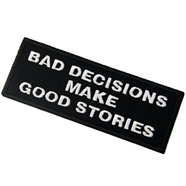 EmbTao Airsoft Morale Patch 4 Bad Decisions Make Good Stories Tactical Patch Embroidered Morale Applique Iron On Sew On Emblem