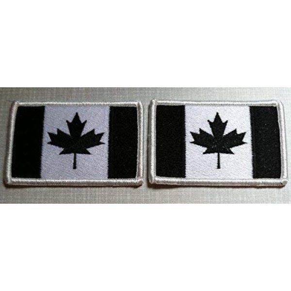Fast Service Designs Airsoft Morale Patch 1 2 Canada Flag Patch Canadian with Hook & Loop Travel Morale Patriotic Black & White Version White Border MC Biker Shoulder Emblem