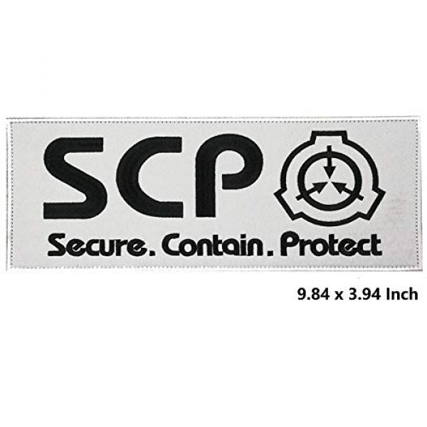 APBVIHL Airsoft Morale Patch 2 2 Pack Large Size SCP Foundation Secure Contain Protect Embroidered Patches, Tactical Military Morale Badges Decorative Appliques with Fastener Hook and Loop Backing