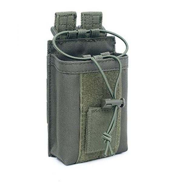 """abcGoodefg Tactical Pouch 1 abcGoodefg 1000D Adjustable Molle Tactical Pouch Radio Holster Case Walkie Talkie Holder Duty Belt, 5.3""""x 3.5""""x 1.6"""" (Amy Green)"""