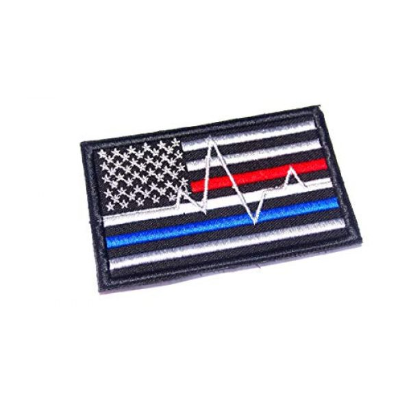 AstroG Airsoft Morale Patch 1 AstroG @ BP4 USA Flag Thin Blue line red line Firefighter EMT EMS Paramedic Morale Embroidered Patch (Hook Backing)
