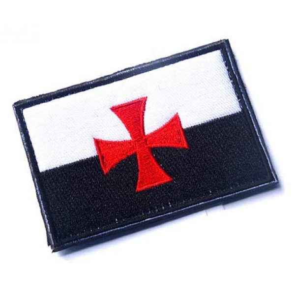 Embroidery Patch Airsoft Morale Patch 2 Knights Templar Cross Flag Crusaders Masonic Emblem Military Hook Loop Tactics Morale Embroidered Patch (color1)