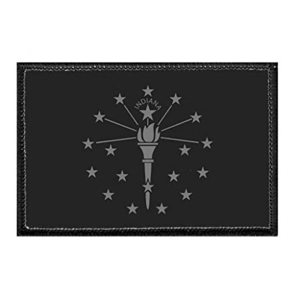 P PULLPATCH Airsoft Morale Patch 1 Indiana State Flag - Black and White Morale Patch | Hook and Loop Attach for Hats, Jeans, Vest, Coat | 2x3 in | by Pull Patch