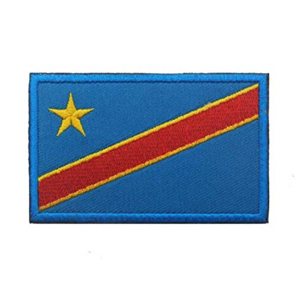 Tactical Embroidery Patch Airsoft Morale Patch 2 2pcs Congo Flag Embroidery Patch Military Tactical Morale Patch Badges Emblem Applique Hook Patches for Clothes Backpack Accessories