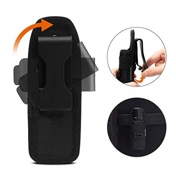 AIRSOFTPEAK Tactical Pouch 4 AIRSOFTPEAK Flashlight Pouch Holster Carry Case Holder with 360 Degrees Rotatable Belt Clip Long Type, Black